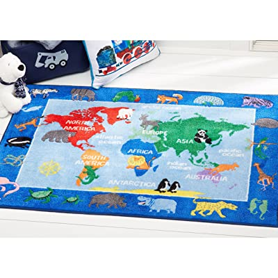 "Home Dynamix Eric Carle Elementary World Map Educational Kids Area Rug 4'11""x6'6"" Red/Blue: Kitchen & Dining"
