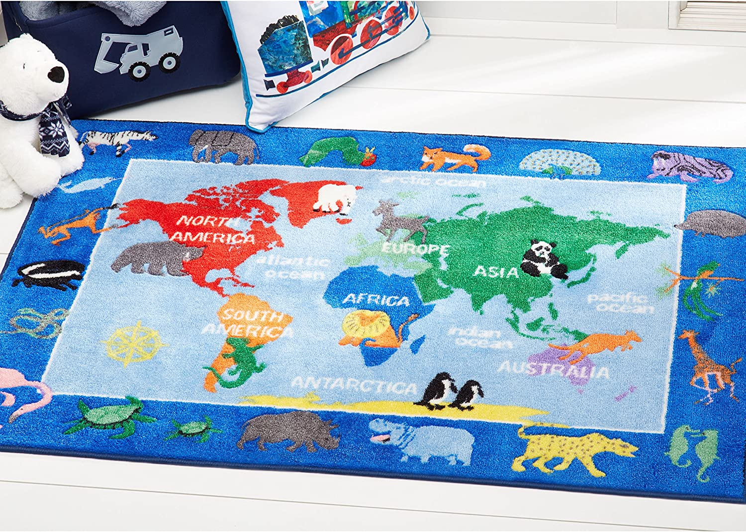 Amazon Com Vantaso Soft Foam Nursery Rugs World Map Animals Non Slip Play Mats For Kids Boys Girls Playing Room Living Room 63x48 Inch Kitchen Dining