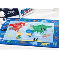 """Home Dynamix Eric Carle Elementary World Map Educational Kids Area Rug 4'11""""x6'6"""" Red/Blue"""
