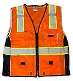 ML Kishigo 1514 Ultra-Cool Polyester Black Series Heavy Duty Vest, Medium, Orange