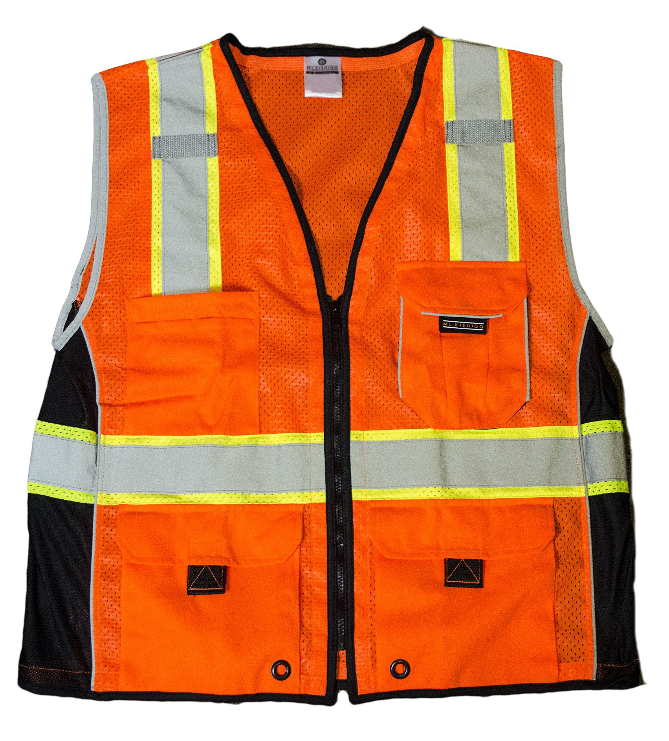 ML Kishigo 1514 Ultra-Cool Polyester Black Series Heavy Duty Vest, Large, Orange