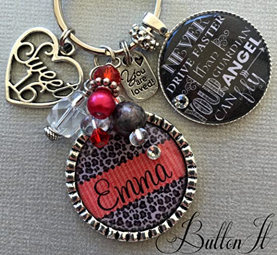 Sweet 16 Birthday Gift Friend 16th Never Drive Faster Than Guardian Angel Can Fly Personalized Key Chain Daughter