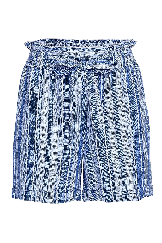 bluee Club Stripe Alki'i Women's Casual Linen Paper Bag Shorts 1194