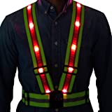 LED Reflective Safety Vest from Tuvizo with Storage Bag. High Visibility Night & Day. Lightweight Hi Vis Gear with Lights for Running Cycling Motorcycle Walking Outdoor Sport Activities in Traffic