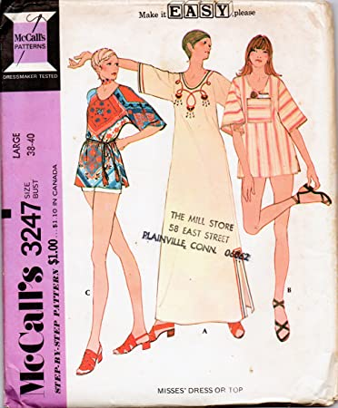 Amazon.com: McCall\'s 3247 Misses Tunic or Caftan Sewing Pattern ...