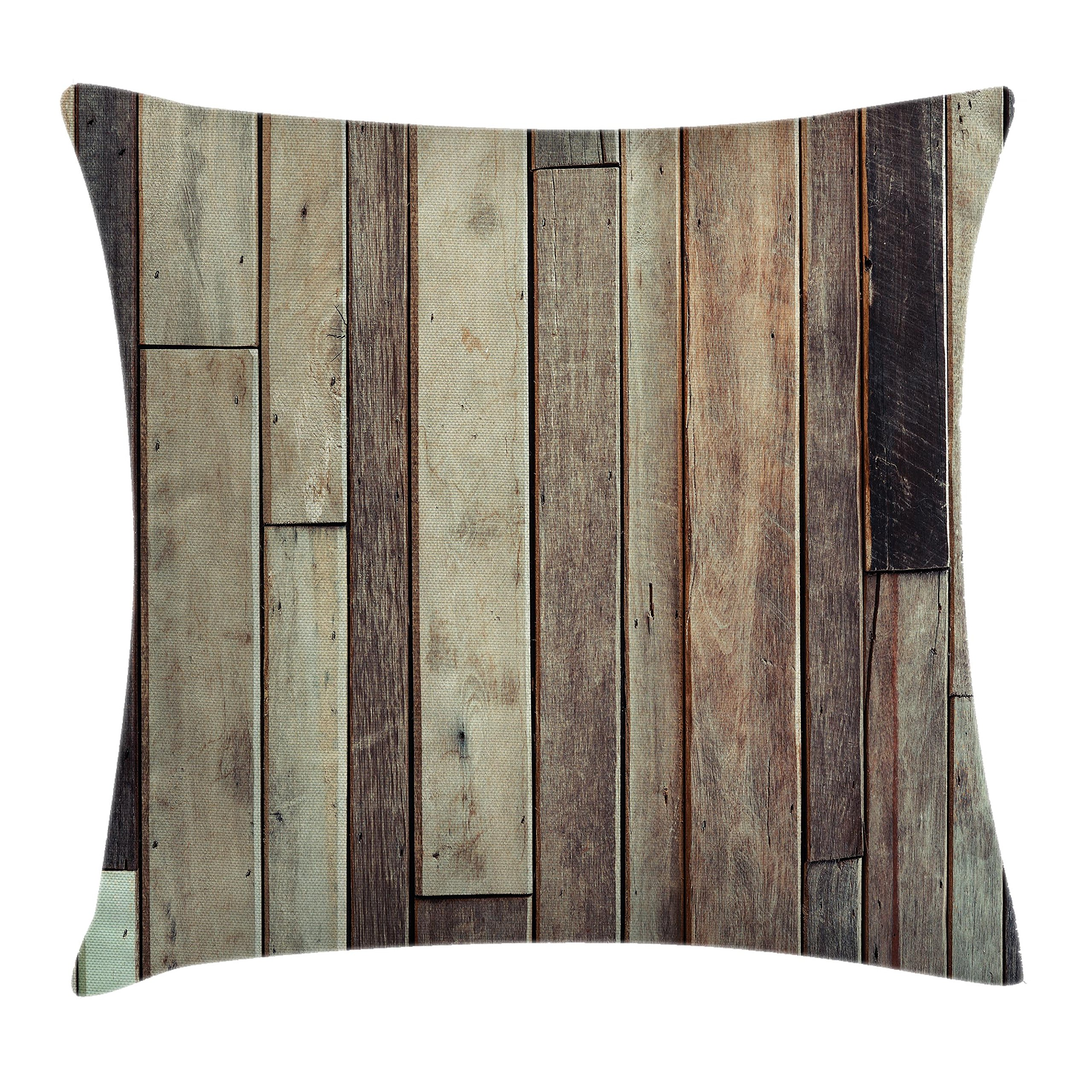 Ambesonne Wooden Throw Pillow Cushion Cover, Antique Planks Flooring Wall Picture American Style Western Rustic Panel Graphic Print, Decorative Square Accent Pillow Case, 24 X 24 Inches, Brown