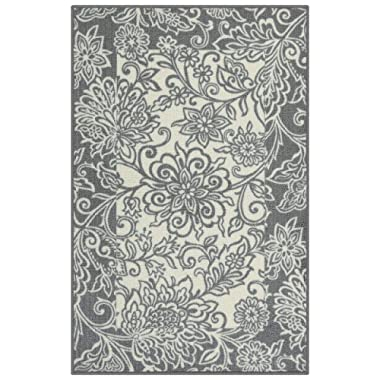 Maples Rugs Kitchen Rug - Adeline 2'6 x 3'10 Non Skid Washable Throw Rugs [Made in USA] for Entryway and Bedroom, Grey/Neutral