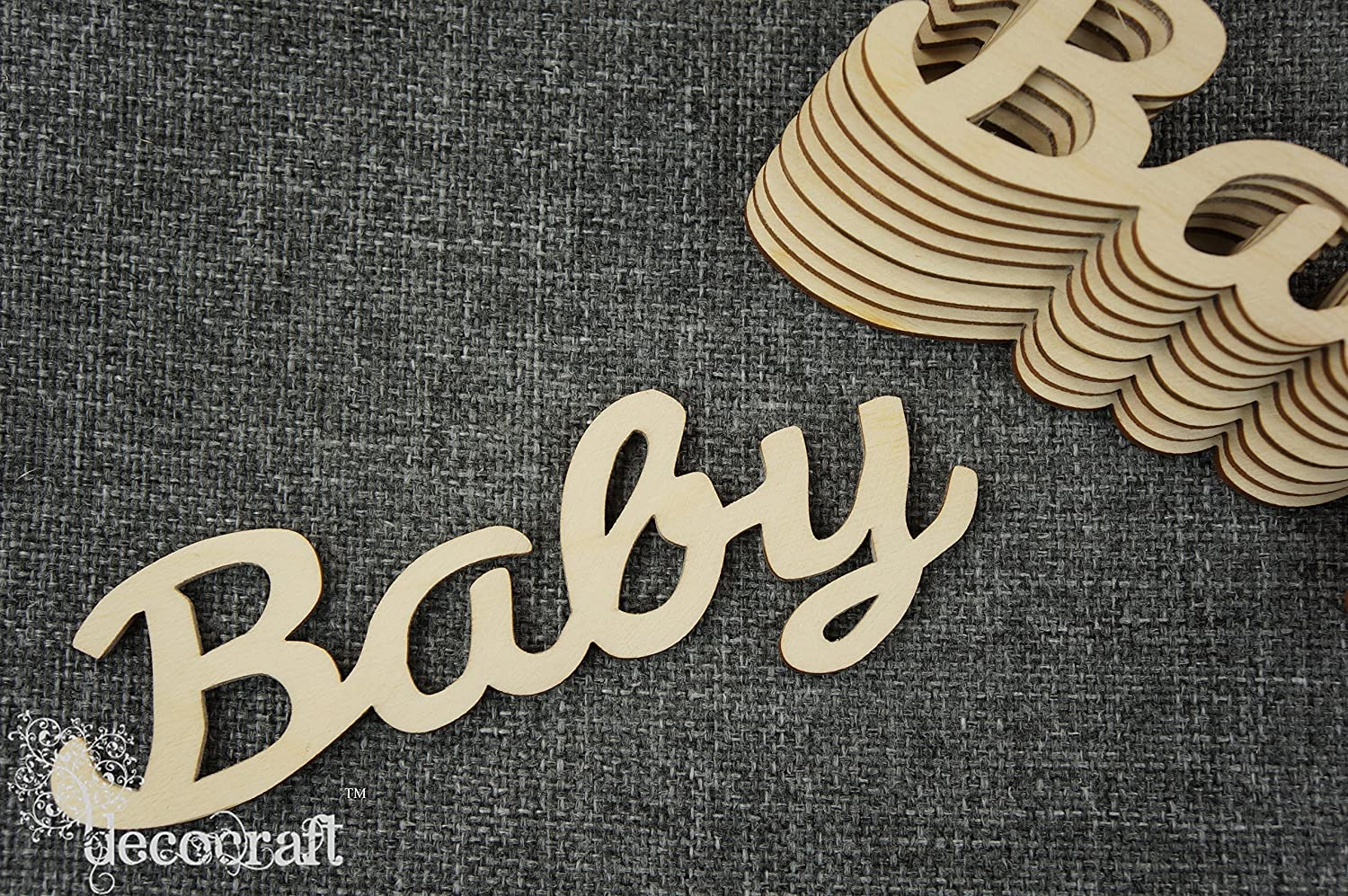 W76 3 x Plain Wooden Small Baby Plaque Craft Shape Emblishment Decoration