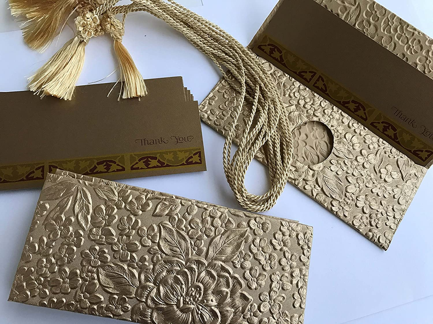 Money Envelopes (Premium) with a Insert Card and Silk Tassel for Cash Gift Wedding Gifts made from Embossed Gold Metallic Paper Floral pattern - Box of 6 ... & Amazon.com : Money Envelopes (Premium) with a Insert Card and Silk ...
