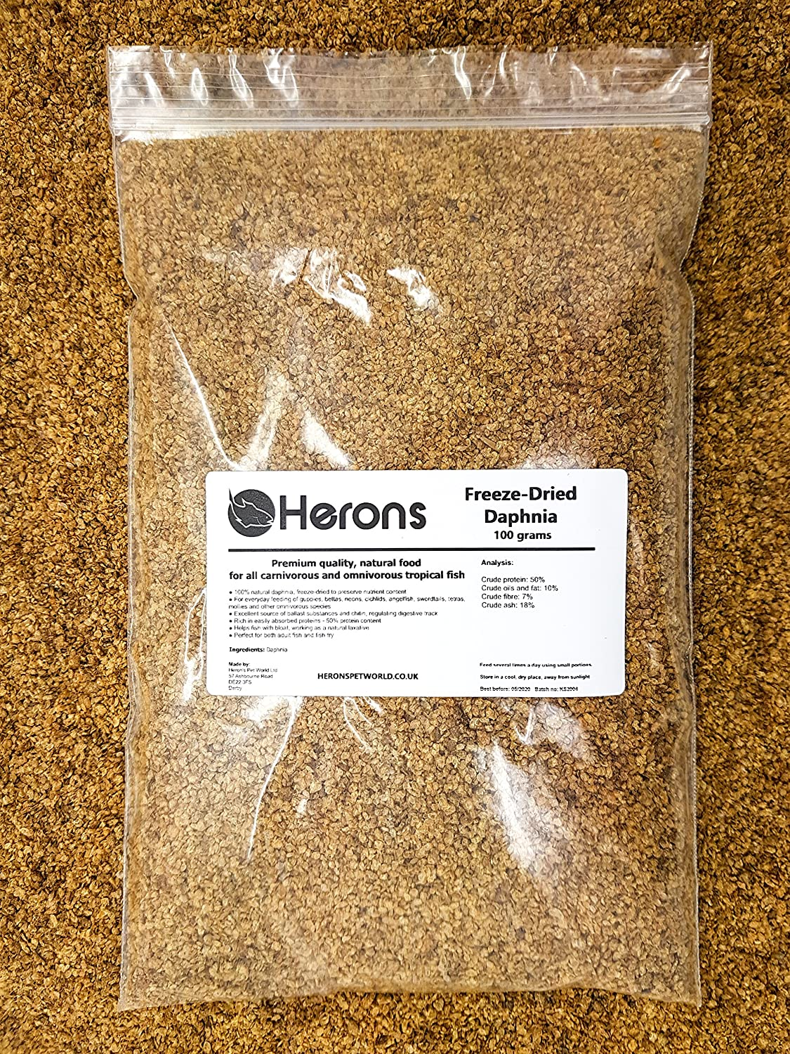 HERONS Freeze Dried Daphnia [100g] CICHLID GOLDFISH KOI FRY TROPICAL FISH FOOD Heron's Pet World