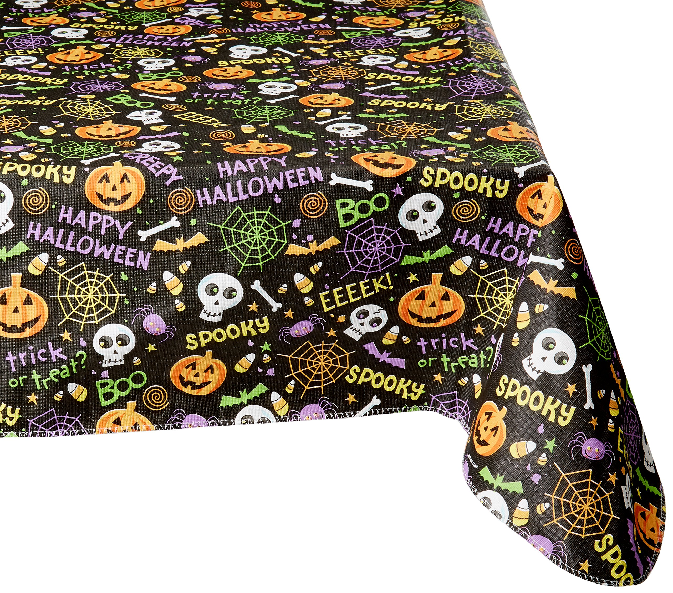 Amscan Spooktacular Halloween Party Creepy Crawlers Flannel-Backed Table Cover Decoration, Fabric, 52'' x 90''
