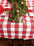 DII Buffalo Check Tabletop Collection, 60x120, Red