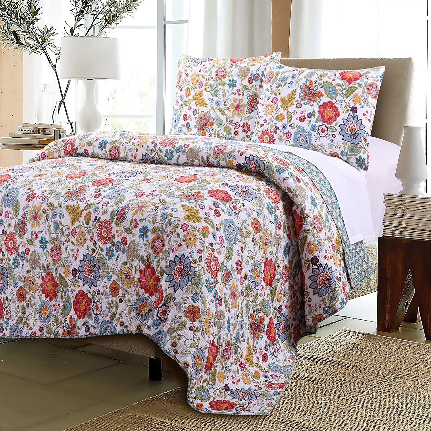Greenland Home 3 Piece Astoria Quilt Set, Full/Queen, White