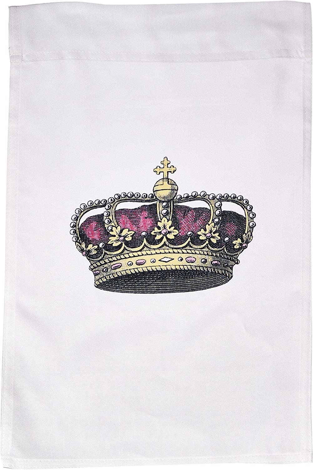 3dRose fl_151449_1 Pink Girly Crown-Vintage Art-Royalty-Royal Gold Queen or Princess Crown with Pearls and Cross Garden Flag, 12 by 18-Inch