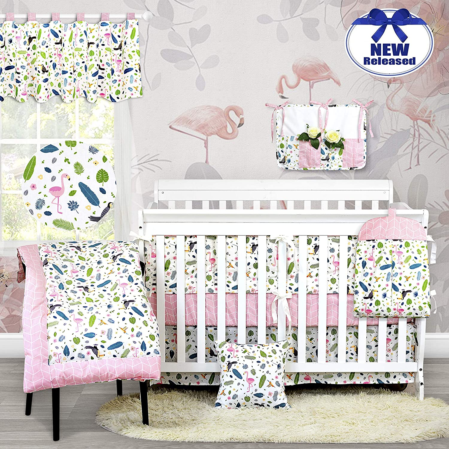 Brandream Feather Crib Bedding Sets for Girls Pink Flamingo Baby Nursery Bedding with Jungle Animals Print 11 Piece Crib Sets with Bumper Pads 100% Cotton, Baby Shower Gift
