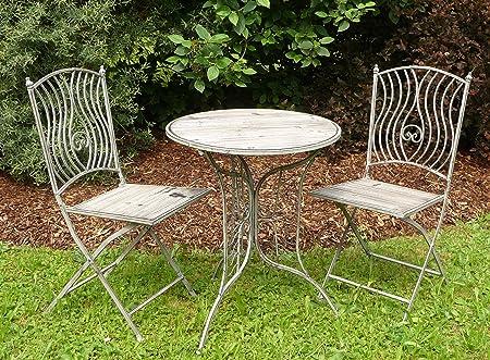 Amazon De Schmiede Eisen Holz Gartenmobel Set Tisch 2 Stuhle In Top Qualitat