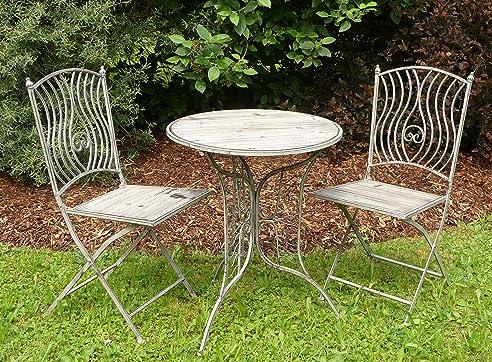 SCHMIEDE EISEN / HOLZ Gartenmöbel SET Tisch + 2 Stühle In TOP QUALITÄT