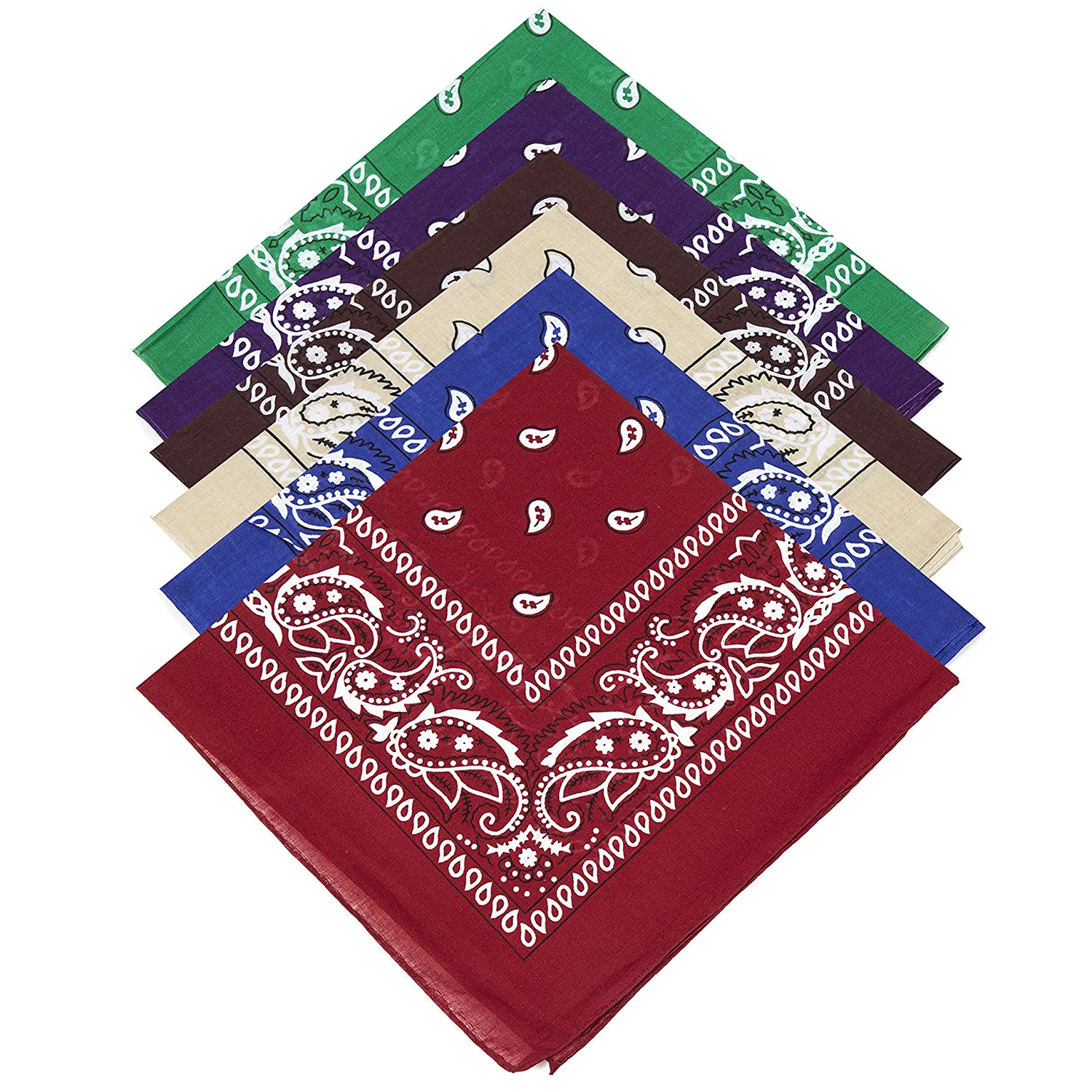 6 Subdued Subtle Colours Unisex 100% Cotton Paisley Bandanas