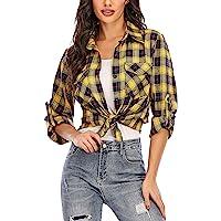 Camisa Cuadros Mujer Franela 100% Algodón Camisa Leñador Blusas Basiccon Botones Camisetas Cuello en V Manga Larga…