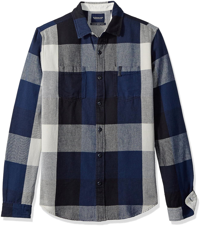 Scotch & Soda Men's Summery Chunky Shirt in Checks & Stripes in Broken Twill Qua 141266