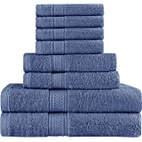 (Electric Blue) - Premium 8 Piece Towel Set (Electric Blue); 2 Bath Towels, 2 Hand Towels and 4 Washcloths - Cotton - Hotel Quality, Super Soft and Highly Absorbent by Utopia Towels