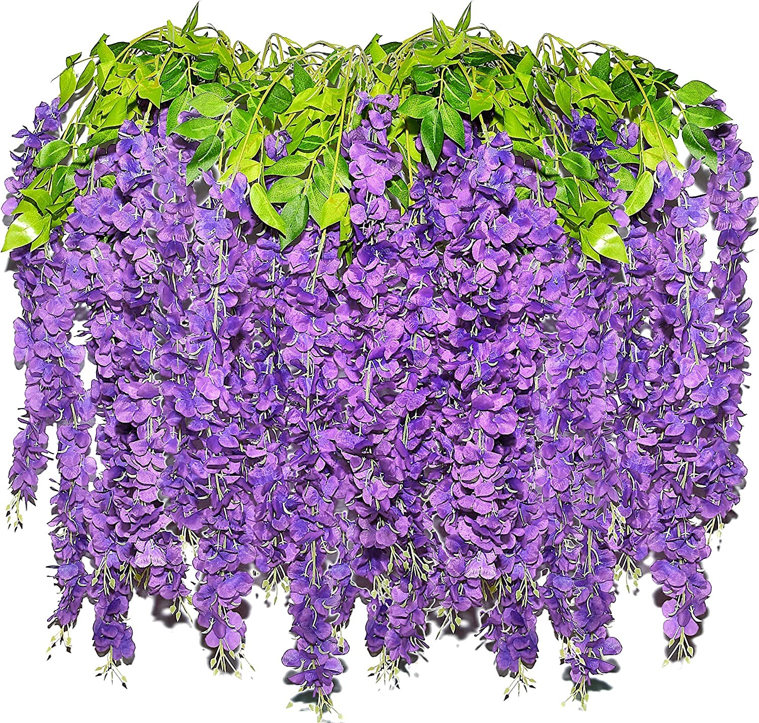 Artificial Wisteria Hanging Flowers for Decoration - 3.6FT 12 in a Pack Purple Long Fake Plant Wisteria Garland Vines Wedding Decorations Real Touch Wisteria Silk Home Party Decor Flower - by Retonia