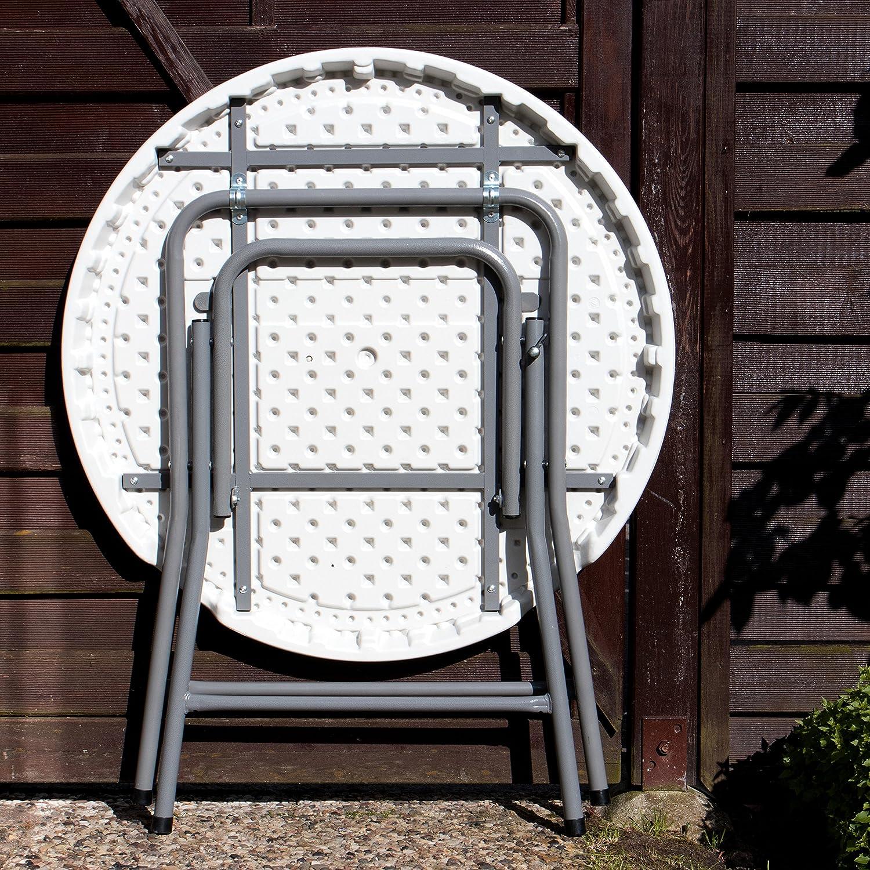Park Alley 4250772345212 Tavolo Tondo Pieghevole 74 x 80 cm Bianco