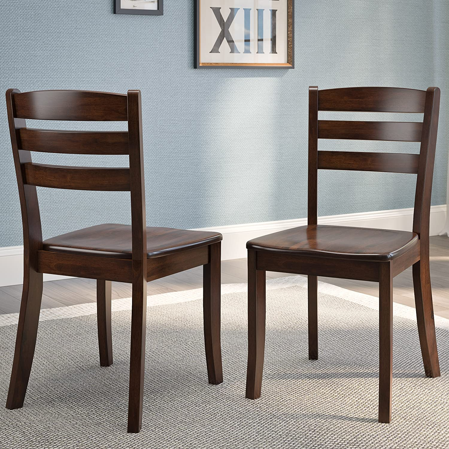 CorLiving CorLiving DSH-190-C Cappuccino Stained Solid Wood Dining Chairs with Horizontal Slat Backrest Cappuccino Set of 2