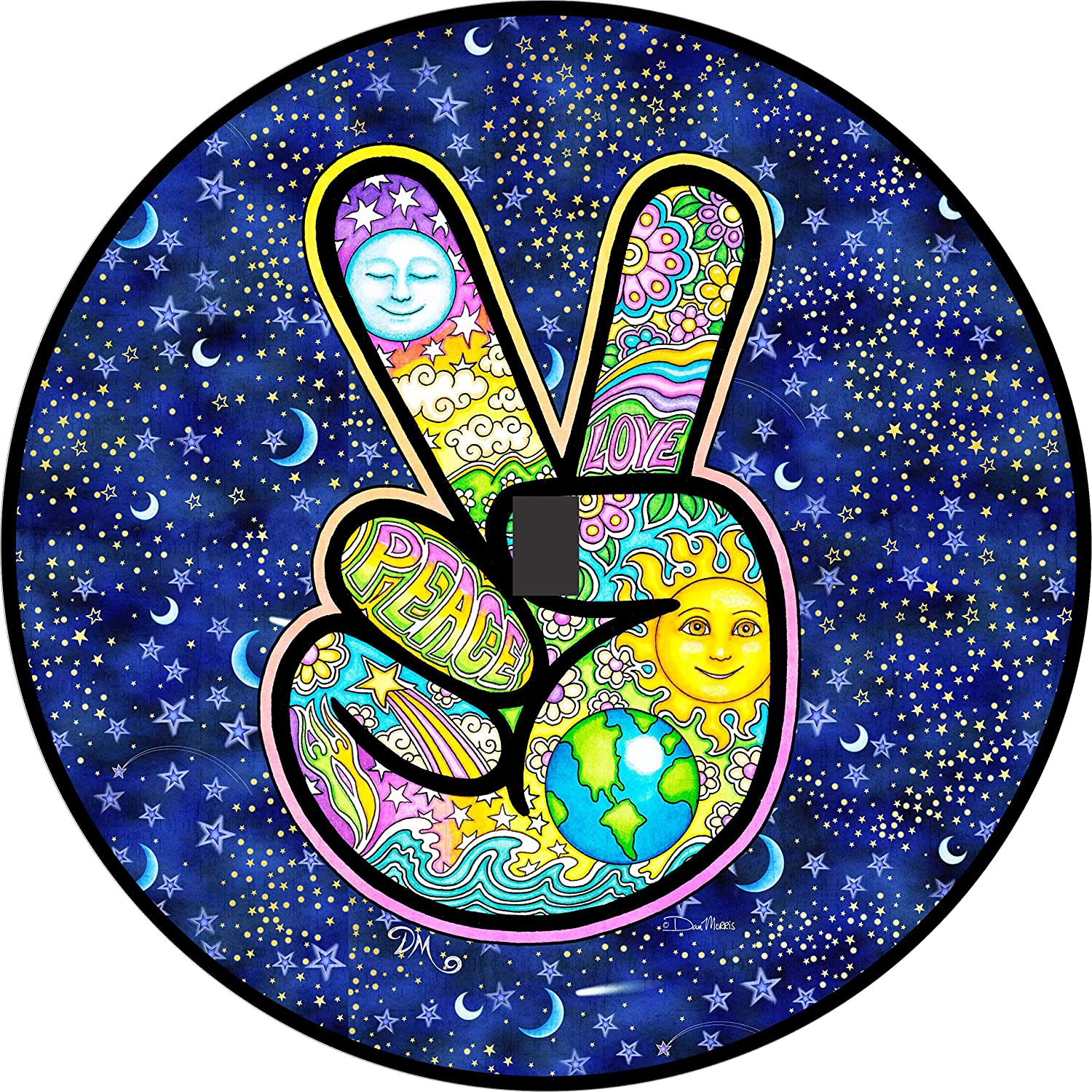 Peace Sign Hand Earth Tire Cover ALL SIZES Campers Trailers RVs Jeep JL Camera