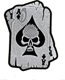 Parche Poker as de Calavera Biker Motociclista - 24,5 x 17 cm XL Tamaño Grande - Parche para Ropa Parches Bordados Parche Termoadhesivo Aplicación Apliques Mochila Jeans Chaqueta– Treasure-Quest