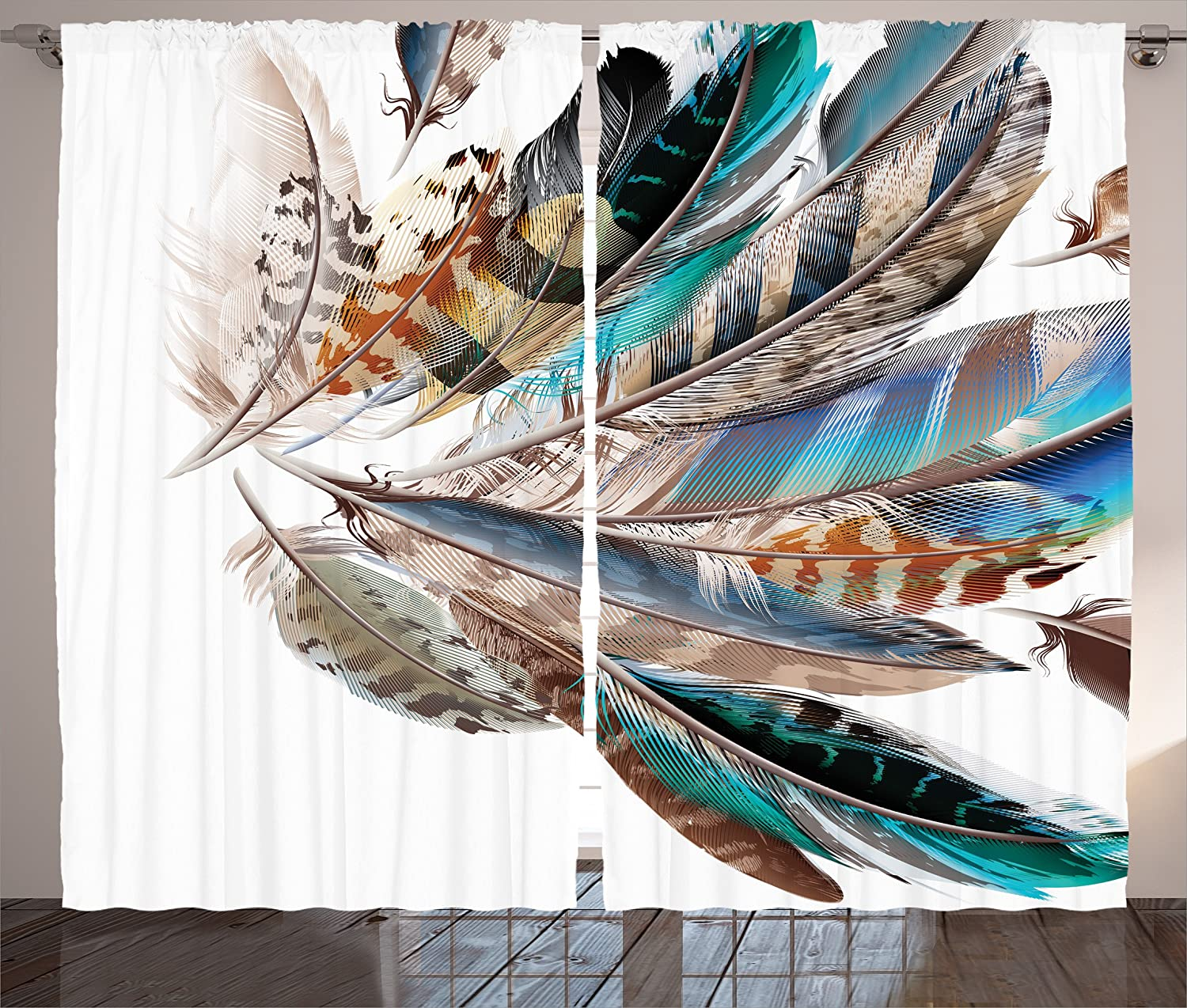 "Ambesonne Feathers Curtains, Vaned Types and Natal Contour Flight Bird Feathers and Animal Skin Element Print, Living Room Bedroom Window Drapes 2 Panel Set, 108"" X 84"", Teal Brown"