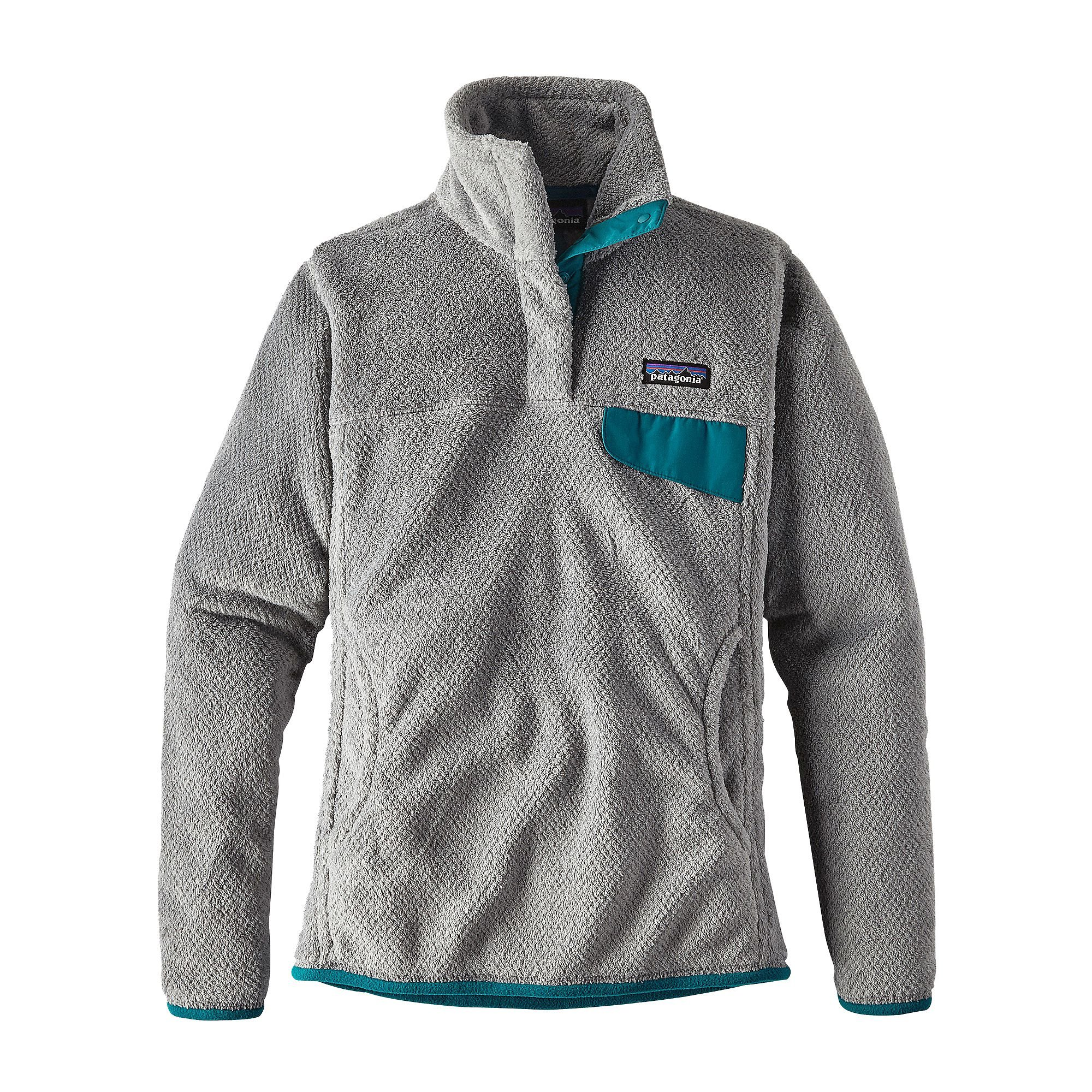 Patagonia Womens Re-Tool Snap-T Fleece Pullover (Medium, Tailored grey- Nickel X-Dye w/ Elwha Blue)