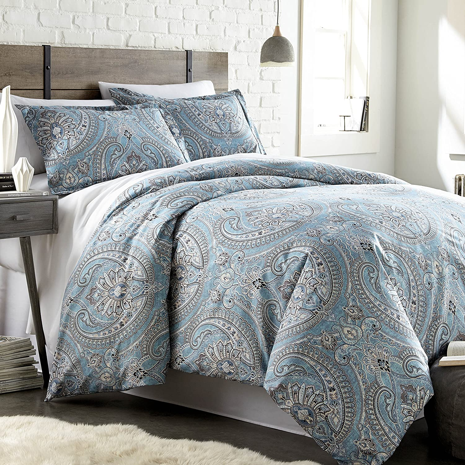 Southshore Fine Linens - The Pure Melody Collection - Duvet Cover Sets, 3 Piece Set, King/California King, Aqua