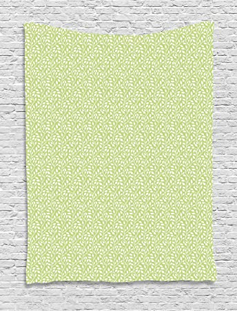 Printawe Green And White Tapestry Monochrome Leaf Silhouette On A Pastel Background Spring Season