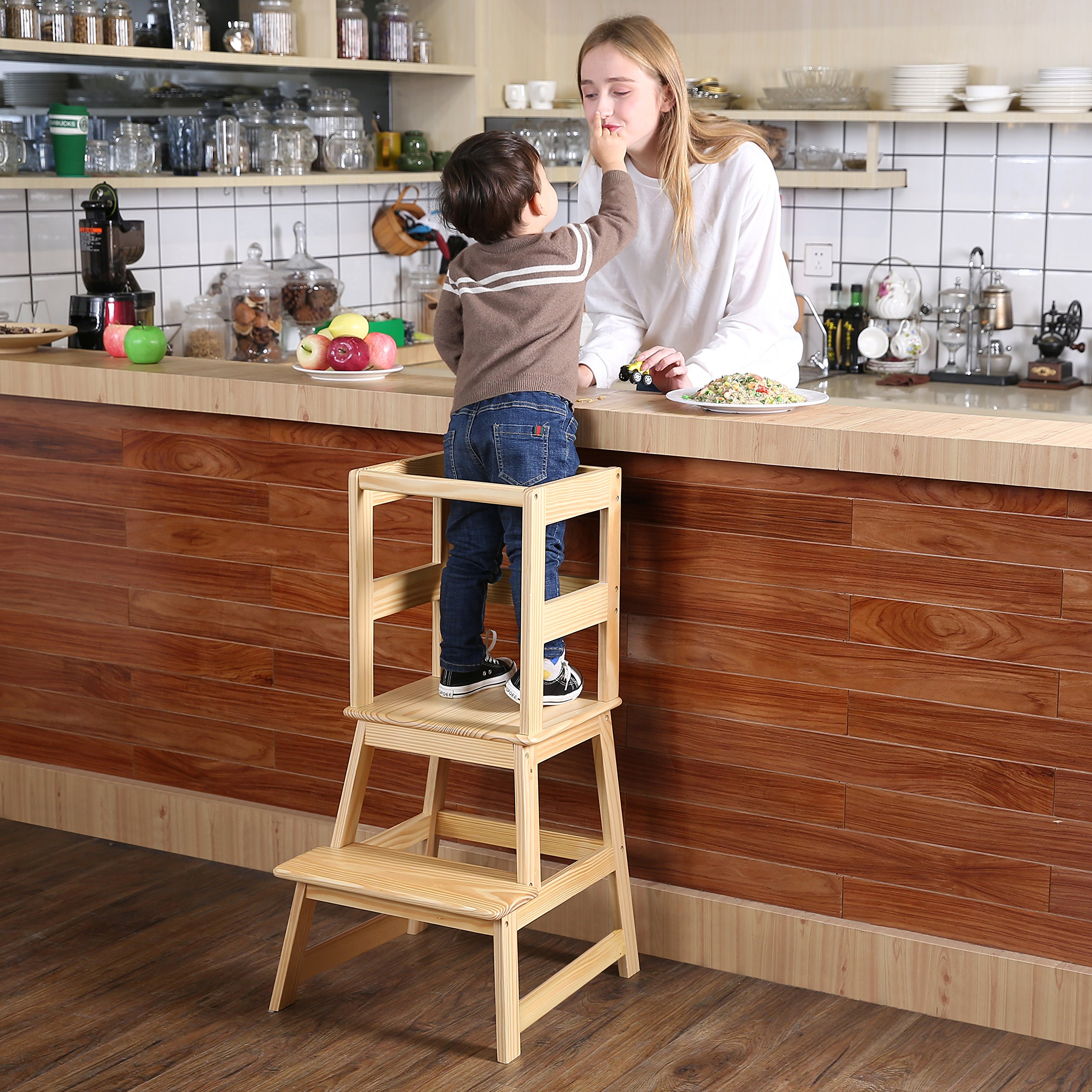 SDADI Kids Step Stool Kitchen Learning Stool with Safety Rail CPSC Certified - for Toddlers 18 Months and Older,Burlywood