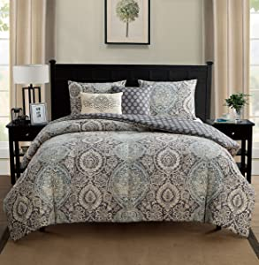 VCNY Home VCA-5CS-FUQU-IN-BL Valencia 5 Piece Comforter Set,Blue,Queen,