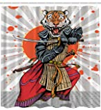 Ambesonne Anime Shower Curtain Wild Ninja Cartoon Japanese Decor by, Masculine Tiger Leopard Samurai Sword Fighter Japan Style Rising Sun Man Cave Fantasy Manga Design Gray White Orange Red Charcoal