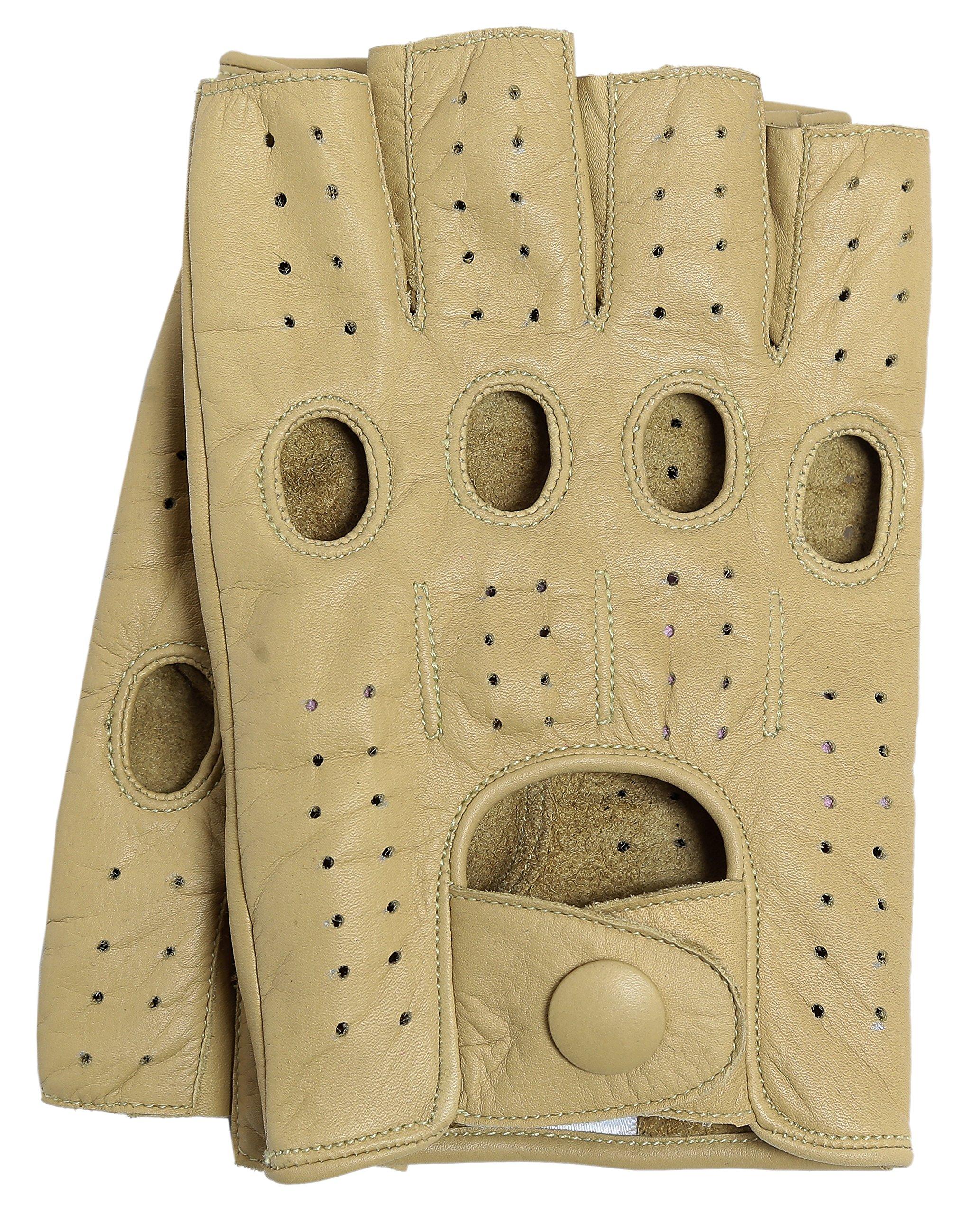Riparo Women's Fingerless Half Finger Driving Motorcycle Unlined Leather Gloves (7, Sand)