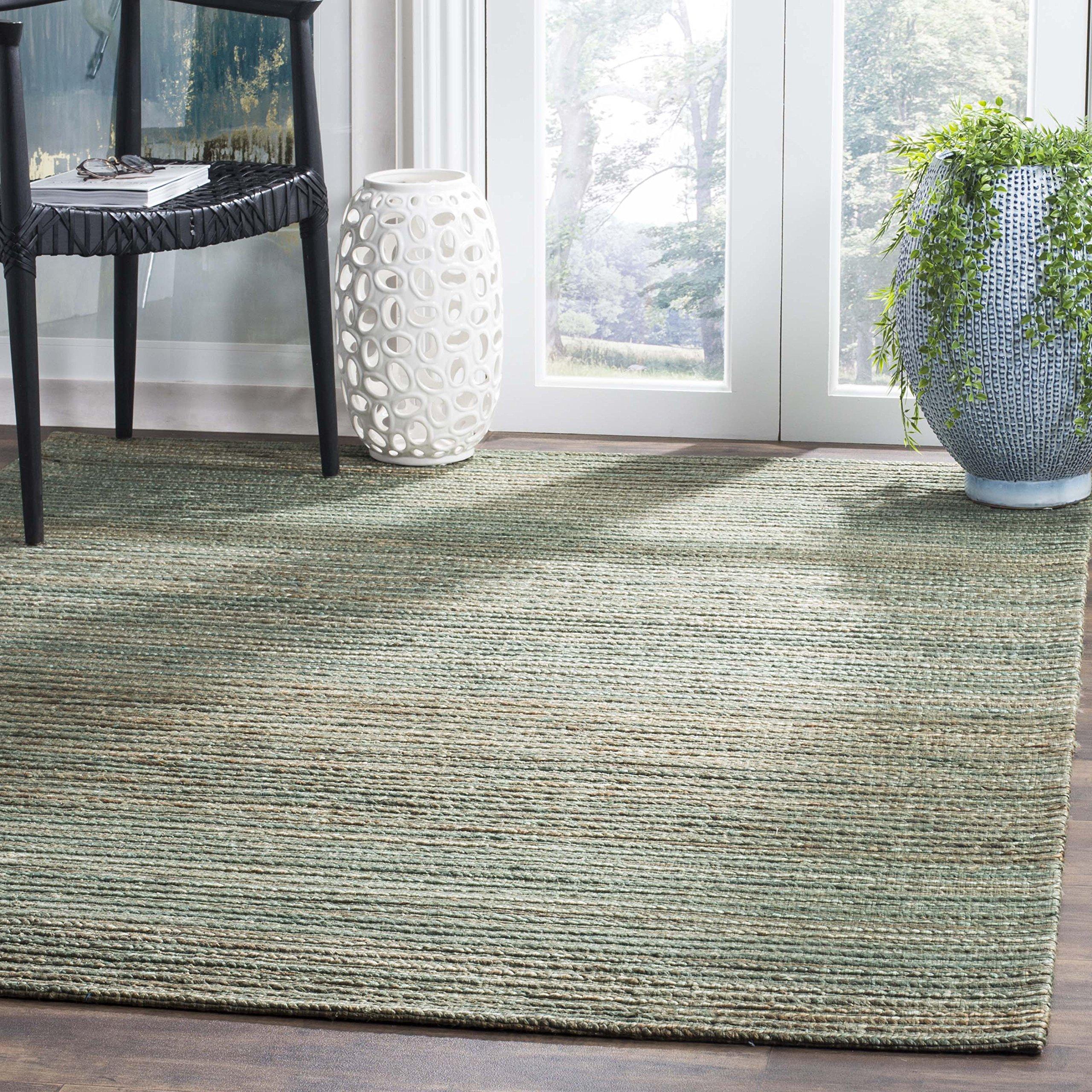 Safavieh CAP503B-5 Cape Cod Collection Flat Weave Handmade Area Rug, 5' x 8', Sage/Natural