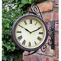 Warwick Horloge de jardin/d'extérieur avec thermomètre et support