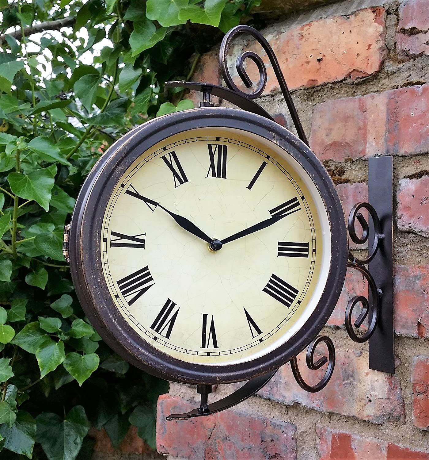 Warwick Outdoor Garden Clock With Thermometer And Swivel Station Bracket    31.5cm
