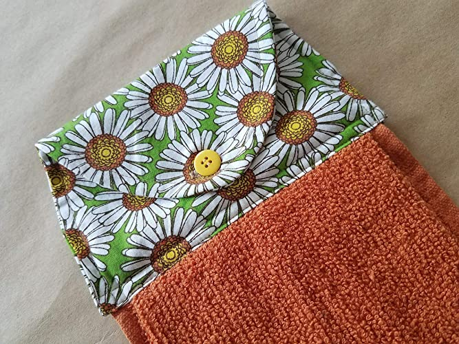 Amazon Com Daisy Hanging Kitchen Towel Spring Floral Button Top
