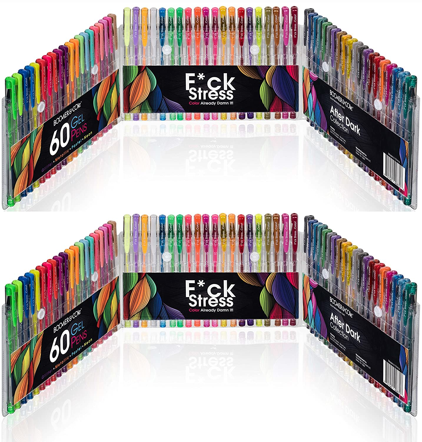 120 Boomer & Cole Gel Pens | Fck Stress Color! | 2 X 60-Piece Set With Case | Assorted Colors Include Metallic, Glitter, Pastel, & Neon