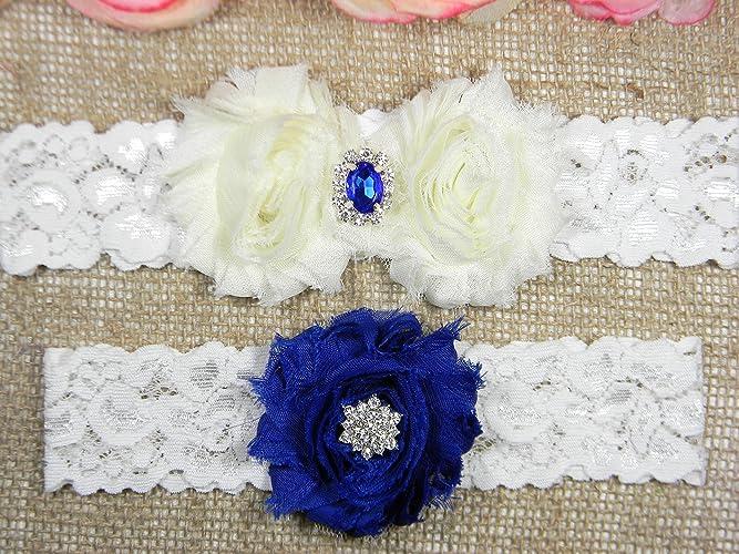 Amazon Ivory And Royal Blue Oval Crystal Garter Wedding Garter