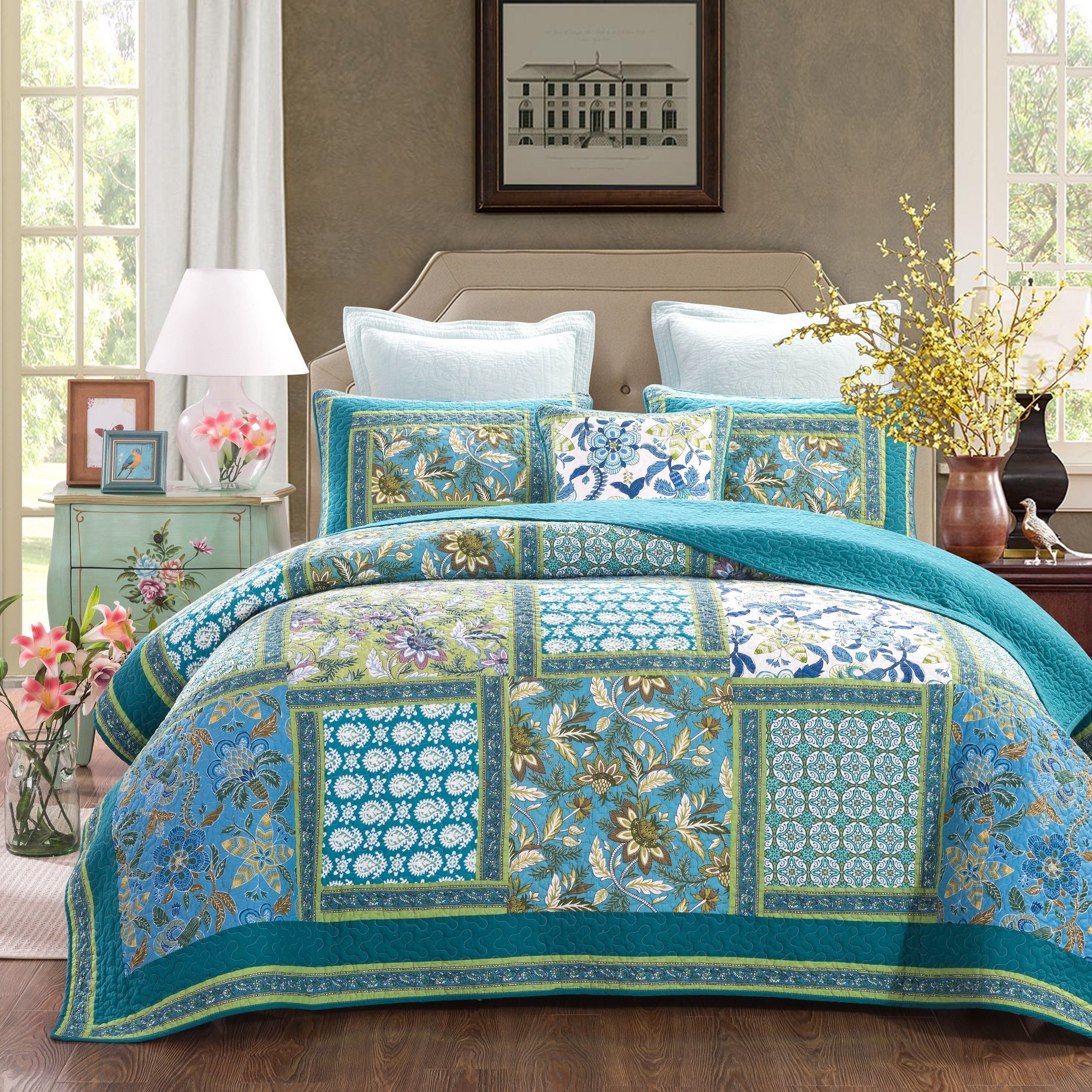 DaDa Bedding Mediterranean Fountain Bohemian Reversible Cotton Real Patchwork Quilted Coverlet Bedspread Set - Bright Vibrant Floral Paisley Colorful Turquoise Teal Blue Green Print - King - 3-Pieces