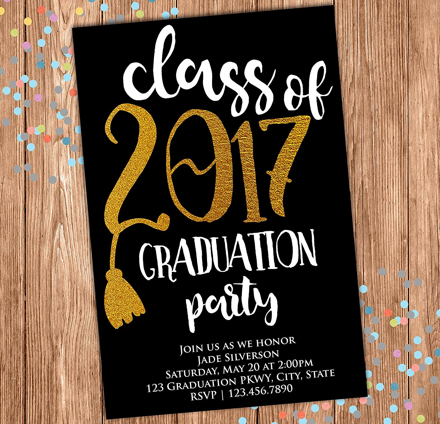 Amazon.com: Graduation Party Invitation - Graduation Announcement - Class  Of - Black and Gold - Grad Invite - 4x6: Handmade