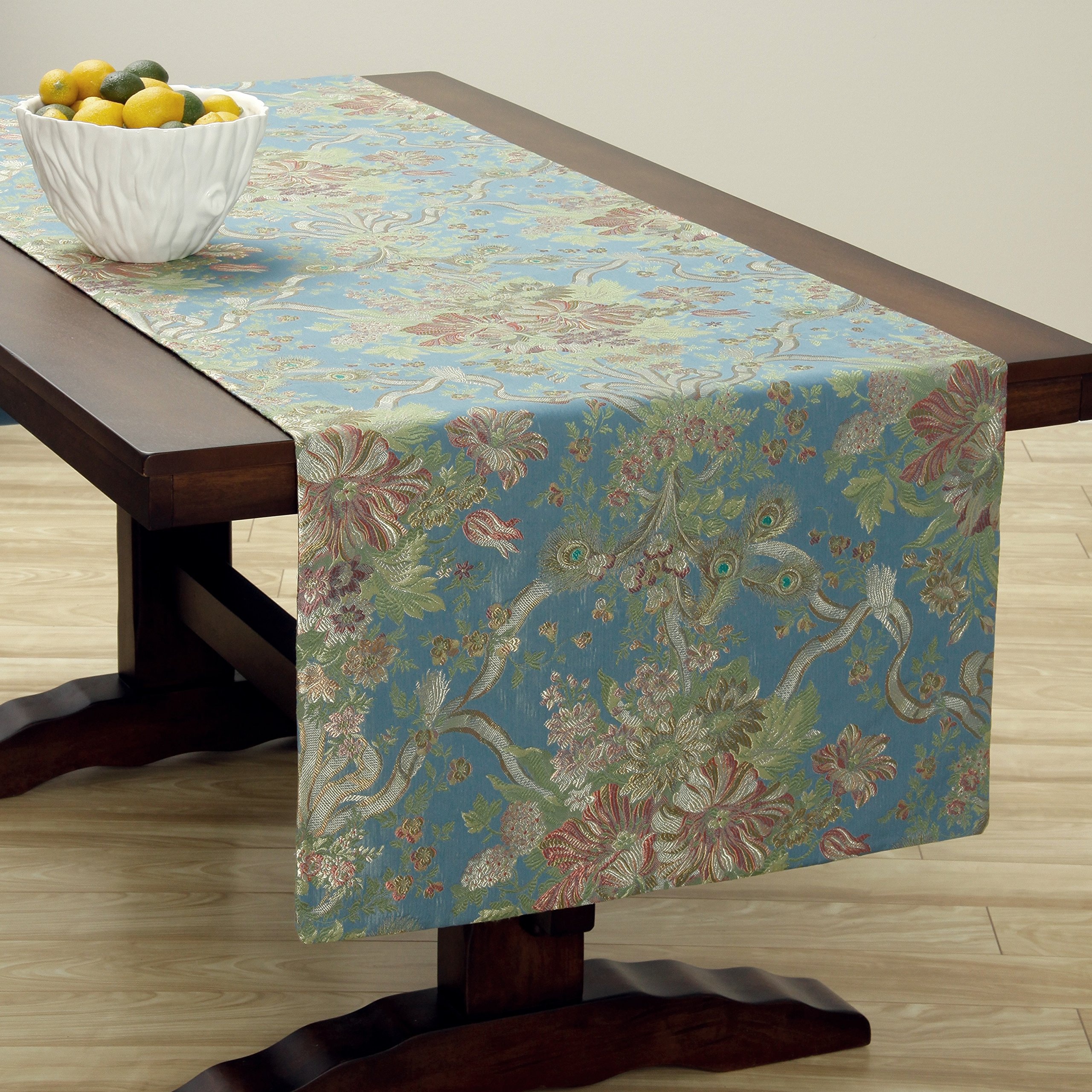 Corona Decor Extra-Wide Italian Woven Table Runner, 95 by 26-Inch, Blue/Rose