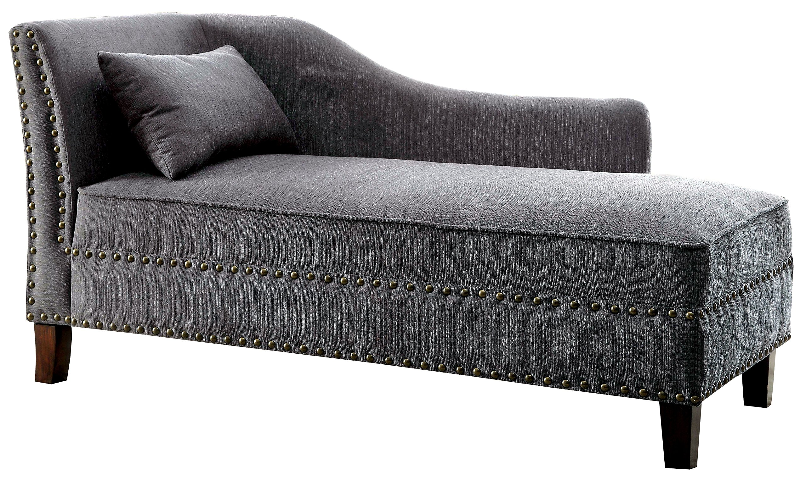 HOMES: Inside + Out Laura Contemporary Chaise Lounger Gray by HOMES: Inside + Out