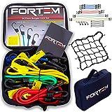 Premium Quality Bungee Cord Assortment - 24 Piece Set w/ Canopy Ties & Bonus Cargo Net by FORTEM - Plastic Coated Metal Hooks