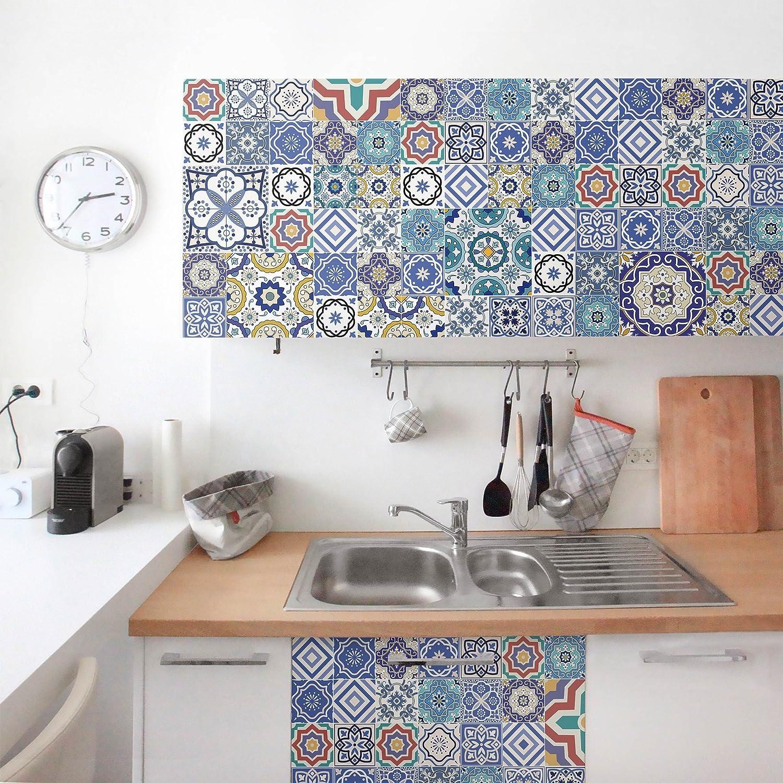 Möbelfolie - Fliesenspiegel - Aufwändige Portugiesische Fliesen, selbstklebend, Dekorfolie, Möbelaufkleber, DIY Designfolie, Sticker, Meterware, Größe HxB  100cm x 100cm